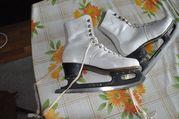 коньки ледовые с кожаными ботинками